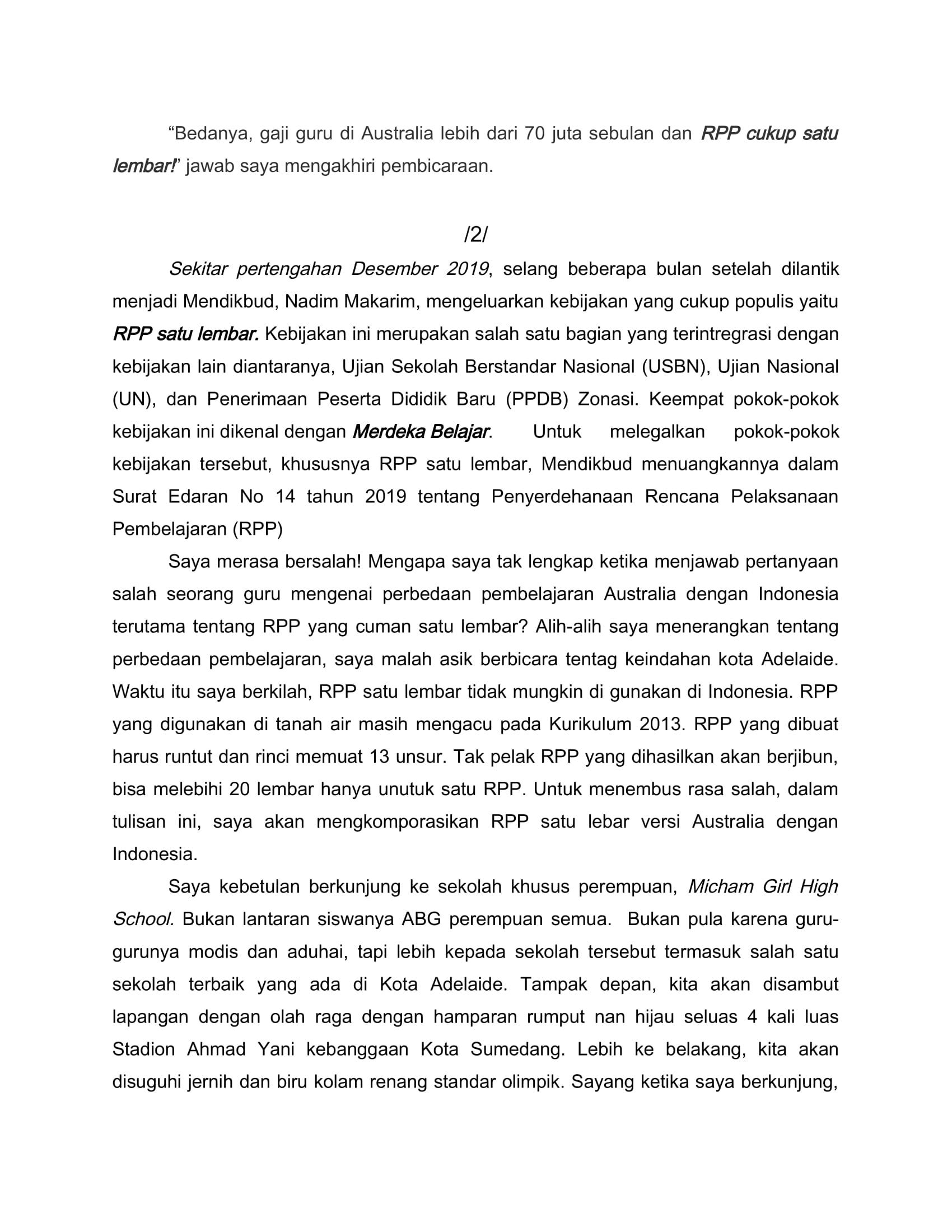 SEKALI LAGI MENYOAL RPP SATU LEMBA1-2